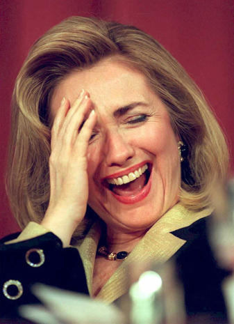 US First Lady Hillary Rodham Clinton laughs as she